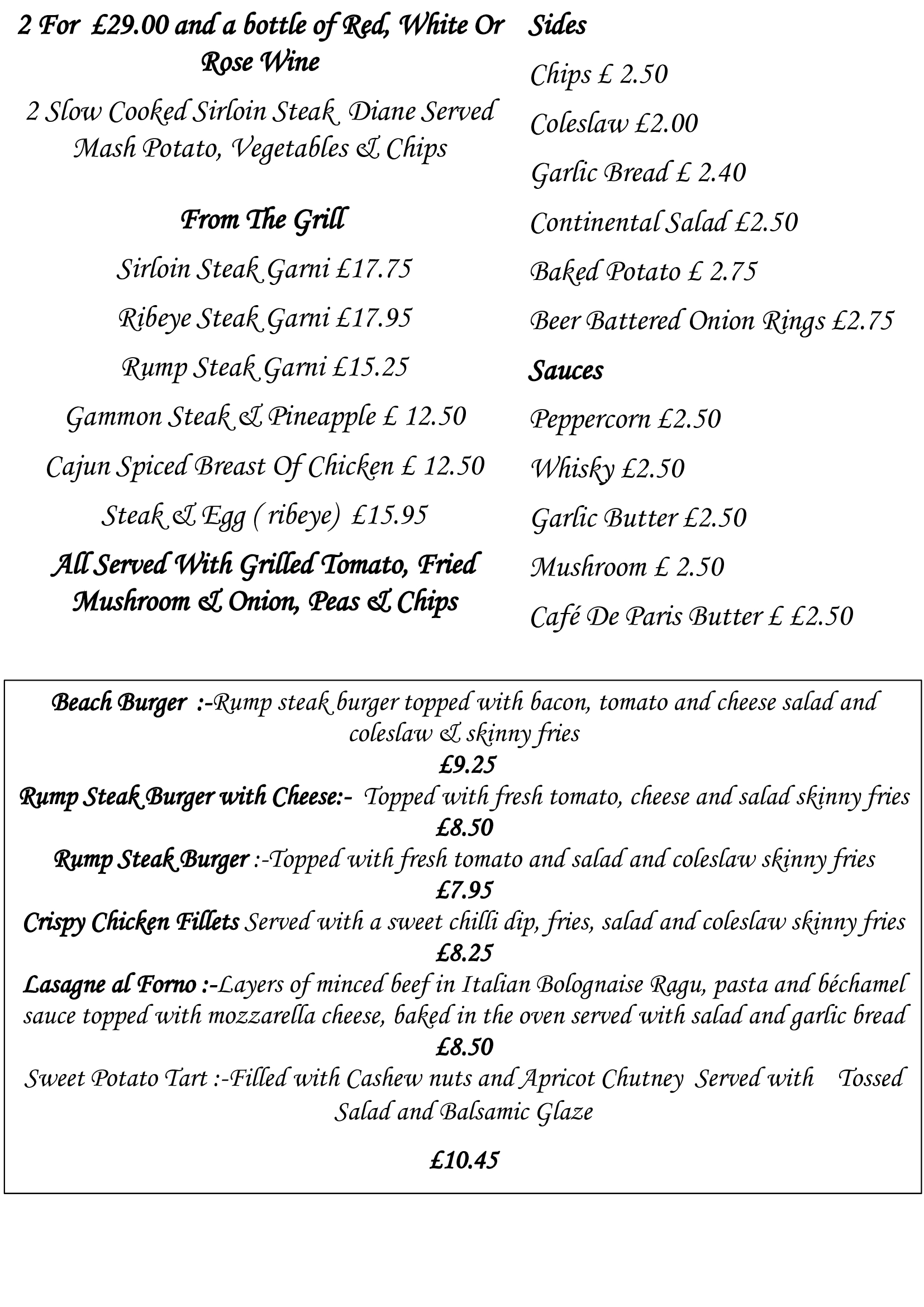 Takeaway menus from Guidis